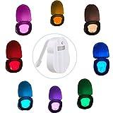 Luz para asiento para inodoro, luz nocturna de LED activa 8 colores sensor de movimiento luz nocturna lámpara de baño para cualquier inodoro funciona
