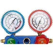KKmoon Kit Manómetro A / C Colector de Medición R134a Aire Acondicionado Automático con 2 Acoplador + 3 Manguera de Color