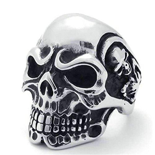 Gnzoe Uomo Annata Gotico Cranio Osso Biker Uomo Acciaio inossidabile Anello, Argento, Dimensioni 17