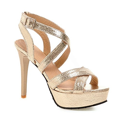 Femme Escarpins Bride Cheville Sexy Sandales Talon Aiguille Plateforme Epais Chaussures Club Soiree Or