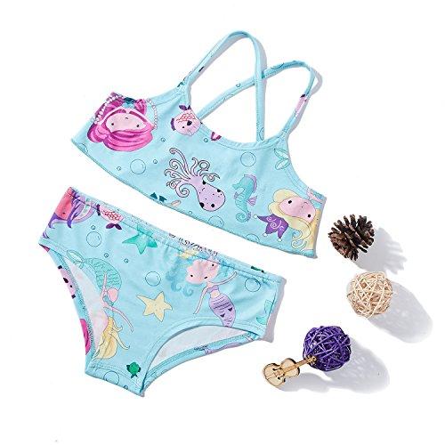Chicolife Meerjungfrau gedruckten Mädchen Kinder zwei Stück Bikini Set Baby SummerSwimwear Bademode Badeanzug Set Outfits 8t (Meerjungfrau-outfit Kinder)