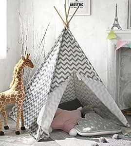 tente de tipi d 39 enfants pour des gar ons 1 5 m gris chevron canvas enfants jouent tente pour. Black Bedroom Furniture Sets. Home Design Ideas