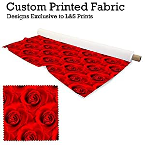 """rouge motif rose impression numérique tissu brossé Aloba très doux 59 """" largeur fabriqué en YORKSHIRE"""