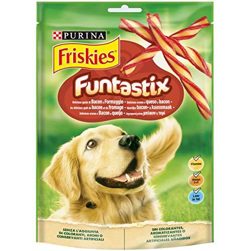 Purina Friskies Funtastix Snack Cane al Sapore di Bacon e Formaggio, 6 Confezioni da 175 g Ciascuna