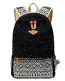 Outdoor Freizeit für Universität Mädchen Schulrucksack Damen Canvas Rucksack Teenager Schultasche Daypacks Schwarz