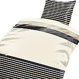 2 tlg. Flausch Bettwäsche in 135 x 200 cm schwarz/beige aus Microfaser Thermofleece (Qualitätsware)