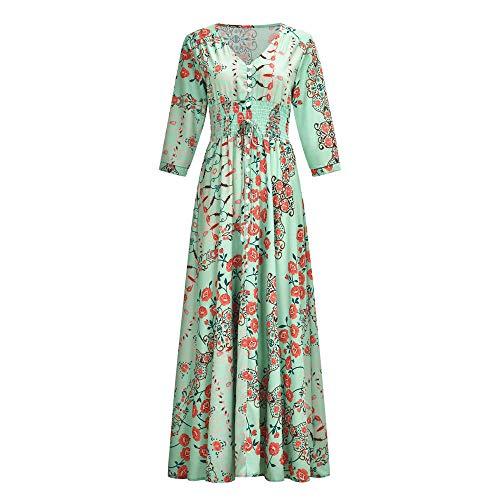 JDSXXZ Art und Weise reizvolles Kleid der böhmischen Druck V-Ausschnitt-Taste Sleeve großes Rockkleid, L, grün - Taste Back Rock