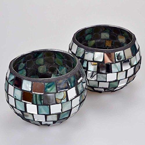Set of 2 Morocco Mirror & Shell Mosaic Ball Tealight Holders