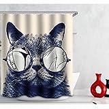 Cortina de Ducha 3D Dibujos Animados Cortina de Baño de Tela Poliéster Impermeable Resistente al Moho Secado Rápido Cortina de Ducha Gafas de Gato con Ganchos 180 x 180cm