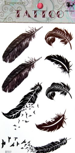 ggsell-ggsell-king-horse-hot-selling-new-design-birds-and-feathers-temporary-tattoo-stckers