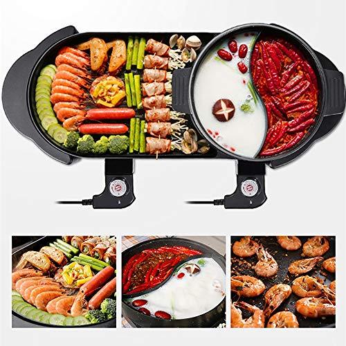 JFS Parrilla eléctrica Interior Hot Pot Multifuncional, la Barbacoa eléctrica y Hot Pot-Coreana Barbacoa...