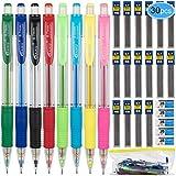 EAONE 30 Trousses D'auto-crayons Porte Mine Comprenant 13 Crayons (0,5 mm, 0,7 mm, 2,0 mm), 12 Mines de Crayon, 4 Gommes, 1 Poche à Fermeture à Glissière en Plastique pour L'école et le Bureau