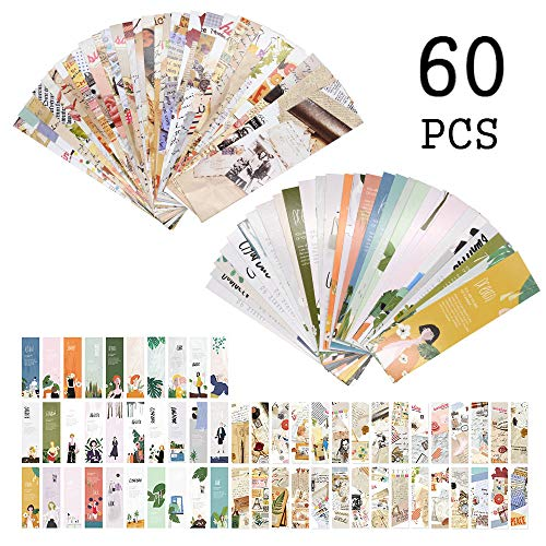 Segnalibri Illustrazione per le donne Ragazze, Inspirational Citazioni Fashion Book Cards Marker Vintage for Kids Children Student (60 PCS)