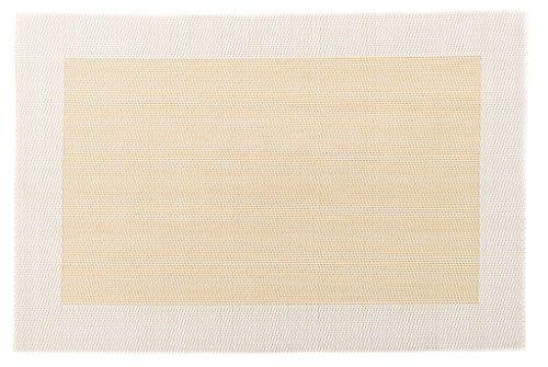 Sets de Table élégants et solides en lot de 4 en plastique tissée (beige-blanc)