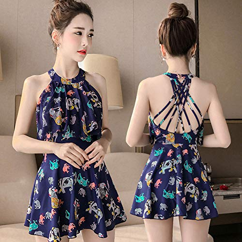 QXIAO Damen Crossover One Piece Kleid Floral Skirted Gepolsterter Badeanzug Für Damen Tommy Control Einteiliges/Zweiteiliges Badekleid Plus Size Slimming Swimdress Swimwear Swim Skirts,L -