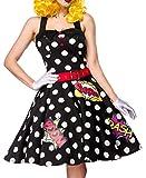 Mujer Pop Art Girl vestido Disfraz verkleidung con vestido, cinturón, guantes de con de cómic ausgestellt negro/blanco 46