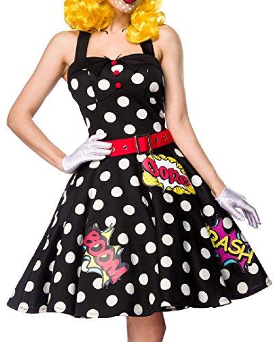 Damen Pop Art Girl Kleid Kostüm Verkleidung mit Kleid, Gürtel, Handschuhe aus mit Comic Muster ausgestellt, Schwarz/Weiß, (Kostüm Pop Girl Comic Art)