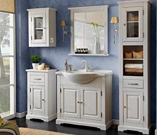 Badmöbel Set ' ROMANTIK ' Badmöbel mit Waschbecken Massivholz Badezimmermöbel