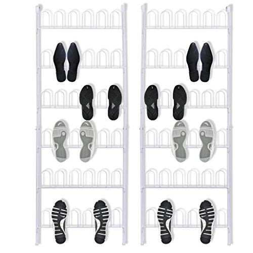 Festnight 2 Stk. Stahl Schuhregal Schuhständer Schuh-Organizer 56 x 157 cm Aufbewahrung für 18 Paar Schuhe - Weiß