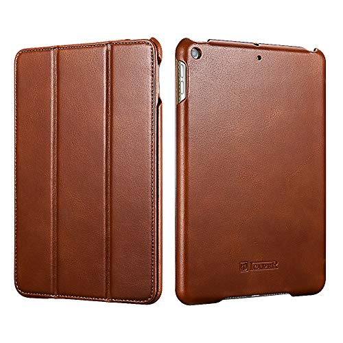 iPad Mini 5 2019 Ledertasche Hülle, ICARER Echtem Leder Folio Flip Smart Cover Leder Fall Handytasche mit Auto Wake/Sleep Funktion [Magnetverschluss] Kickstand für iPad Mini 5 2017 7.9 Zoll (Braun) -