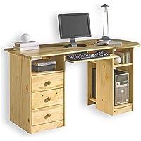 Preisvergleich für IDIMEX Schreibtisch BOB Computertisch PC-Schreibtisch, Kiefer massiv natur lackiert mit Schubladen