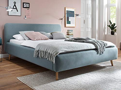 möbelando Polsterbett Bettgestell Ehebett Doppelbett Bettrahmen Bett Ashlen I Eisblau 160x200 cm