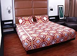 Bombay Dyeing double bedsheet with 2 pillow covers-Garnet-Orange
