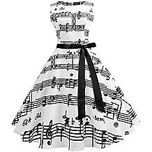 YTJH Vestiti Vintage Abiti Elegante Senza Maniche Scollo a Barca Donna  Musicale Note Stampa Abito da 5190bf3a053