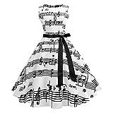 Frauen Ärmelloses Tank A-Linie Vintage Style Hinweis Print Mini Abendkleid Partykleid Gedruckt mit schwarzer Noten weiß Kleid Cocktailkleider