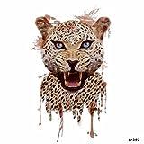 WYUEN 5 hojas acuarela leopardo tatuaje impermeable temporales tatuaje adhesivo para mujeres hombres falso cuerpo arte 9,8 x 6 cm A-295