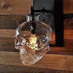 KMY Luz De Pared Industrial Retro Skull Glass LED Lámpara De Pared Accesorios De Iluminación para El Dormitorio Bar Escaleras Restaurant Club Coffee 110V-240V E14 [Clase De Eficiencia Energética A]