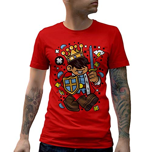 C574MCNTR Herren T-Shirt King Kid Retro Crown Queen Sword Kingdom Throne Gold Emperor Prince Duke Imperial Royal(XX-Large,Red) -