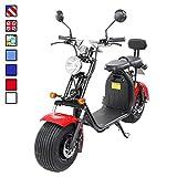 E-Flux eFlux Harley Two Elektro Scooter 1500 Watt 60 Volt 20AH mit Straßenzulassung 35 Kilometer Reichweite viele Farben (Schwarz/Rot)