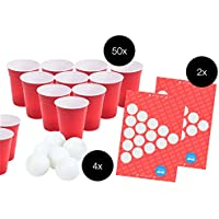 Beer Pong Set - 50x Red Drinking Cup Red Party Beer Pong Cups Plastic Cup Party Cup Mug Beer Pong Beer Pong Red Cup Party Cup Red Desechable Cup 475ml Plastic Plastic + 4x Tenis de mesa Ball Balls White