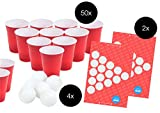 Beer Pong Set - 50x rote Trinkbecher Red Party Beer Pong Cups Plastikbecher Partybecher Becher Bierpong Bier Pong red cup Partybecher rot Einwegbecher 475 ml aus Plastik Kunststoff + 4x Tischtennisball Ball Bälle weiß
