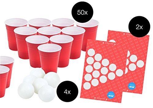 TK Gruppe Timo Klingler Beer Pong Set - 50x rote Trinkbecher Beer Pong Cups Plastikbecher Partybecher Becher Bierpong Bier Pong Partybecher Einwegbecher + 4X Tischtennisball Ball Bälle weiß
