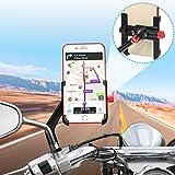 Soporte Móvil Moto Aluminio 360° Rotación Soporte Movil Scooter Soporte Telefono para Moto Motocicleta, Universal Soporte Smartphone Moto Retrovisor para iPhone Samsung Huawei (4-6.8') (Negro)