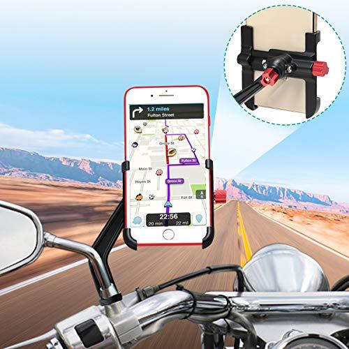 "Motorrad Handyhalterung Aluminium, 360° Drehbar Motorrad Telefonhalter, Handyhalter fürs Motorrad Rückspiegel, Handyhalterung Motorrad Universal für iPhone Samsung Huawei(4-6.8\"") (schwarz)"