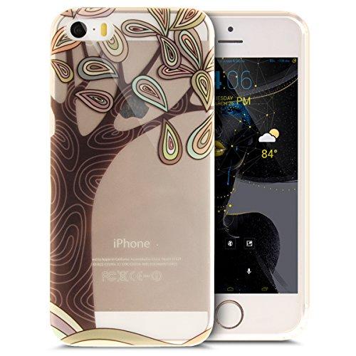 iPhone 5S Hülle,iPhone SE Hülle,iPhone 5 Hülle,iPhone SE 5S 5 Schutzhülle Case,ikasus® TPU Silikon Schutzhülle Case Hülle für iPhone SE 5S 5,Durchsichtig mit Bunte Kunst Gemaltes Muster Handyhülle iPh Kunst Baum