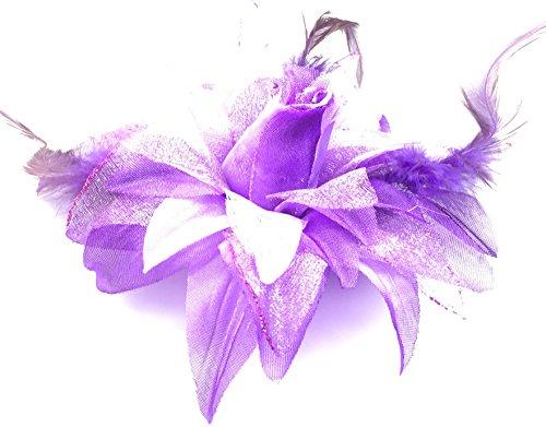 Fashion Jewery Haarblume Haarblüte Haarschmuck Haarspange mit Federn Damen Accessoires DIY Party Hochzeit Haarblüten(violett)