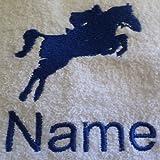 Kinder Kapuzen Bademantel mit einem Jockey Pferd Logo und Namen Ihrer Wahl in rosa. Alter 2, 4, 6, 8, 10oder 12, 100 % Terry-Baumwolle, rose, 152