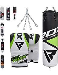 RDX Boxsack Set Gefüllt Kickboxen MMA Muay Thai Boxen mit Stahlkette Training Handschuhe Kampfsport Schwer Punchingsack 4FT 5FT Punching Bag