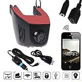 Auto DVR Kamera, TechCode A5-D 1080P HD WiFi Car DVR Cam mit einstellbarer Linse 170 Grad Weitwinkel, Autofahren Recorder mit G-Sensor, Nachtsicht, Loop-Aufnahme, HDR, Parkmonitor (Einzelkamera-Front)