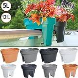 Deuba Geländerkasten Balkonkasten Blumentopf | Anthrazit | 12 Liter | Frostbeständig | UV-Beständig | 2 Getrennte Pflanzkammern