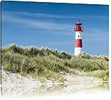 Leuchtturm hinter Dünen Format: 100x70 auf Leinwand, XXL riesige Bilder fertig gerahmt mit Keilrahmen, Kunstdruck auf Wandbild mit Rahmen, günstiger als Gemälde oder Ölbild, kein Poster oder Plakat