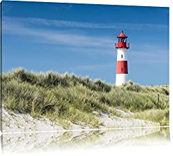 Leuchtturm hinter Dünen Format: 80x60 auf Leinwand, XXL riesige Bilder fertig gerahmt mit Keilrahmen, Kunstdruck auf Wandbild mit Rahmen, günstiger als Gemälde oder Ölbild, kein Poster oder Plakat