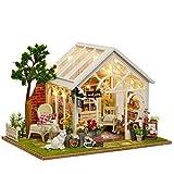 ANGION Puppenhaus Miniatur Holz Puppenhaus Mit DIY Möbel Zappeln Spielzeug Für Kinder Kinder Geburtstag Geschenk Gewächshaus