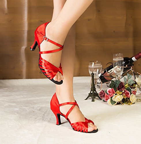 Minitoo – th123 nodo cinturino alla caviglia in raso matrimonio ballo Latina taogo Dance Sandals Red