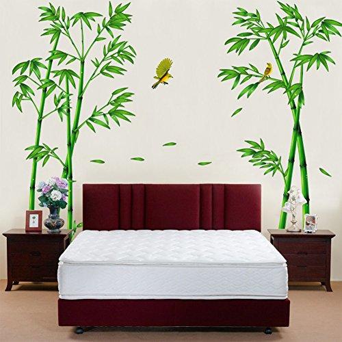 Wallpark Groß Grün Bambus Wald Vogel Abnehmbare Wandsticker Wandtattoo, Wohnzimmer Schlafzimmer Haus Dekoration...