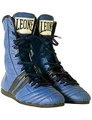 León Botines Boxeo de Piel Azul, Turquesa